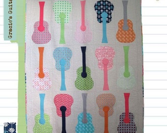 """Garcie's Guitars Quilt Pattern by Lori Holt from Bee in My Bonnet 66"""" x 84"""""""