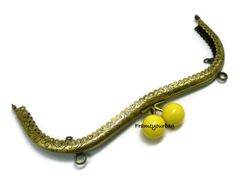20.3 cm( 8 in) Colored bobble yellow antique brass sewing purse frame two loops F20.3/1057