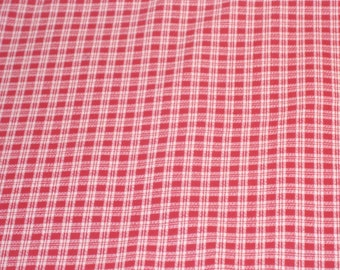 Large Remnant Red Only Tiny Plaid Design Cotton Fabric - 45 Inches x 71 Inches- DESTASH