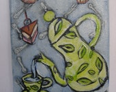 coffeepot with cupcakes, painting