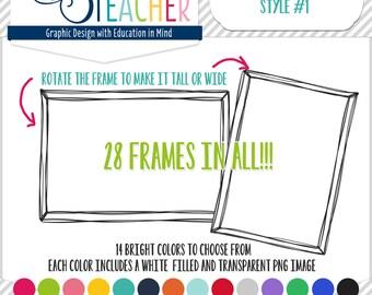Hipster Doodle Frames: Style #1 Clipart Set