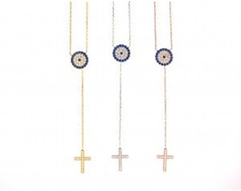 Elegant Evil Eye Cross Necklace-Yellow Gold