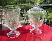 Vintage Jeannette Glass Original 1950s Doubled Baltimore Pear Pattern Sugar & Creamer ( R )