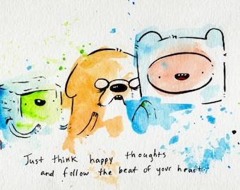 Finn Jake BMO Best Friend Mini Print 5x7 inch inch inkjet print / Adventure Time Fan Art