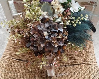 Custom Order Fall Bridesmaid or Bridal Bouquet Taupe Eggplant Ivory Gold