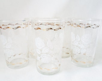 Vintage Set of Five Shabby Chic White Rose and Gold Juice Glasses, Cottage Chic, Glassware