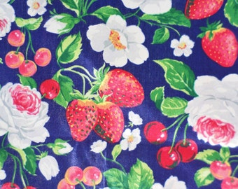 Fabric, Yardage, Joan Kessler, Strawberry, Cherries, Rose, Concord Fabrics, Red, Blue, Yellow, Cotton, Pillow, Curtain, 1.94 Yards, Quilting
