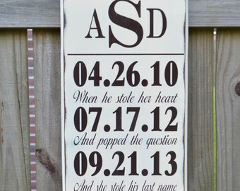 Wedding Sign, Personalized Wedding Gift, Engagement Gift, Anniversary Gift, Important Date Art Custom Wood Sign  - Monogram I Do