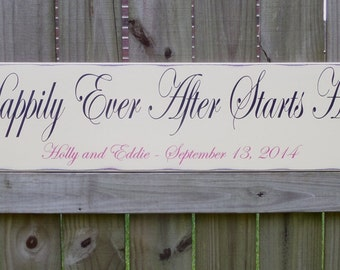 Happily Ever After Starts Here Sign, Personalized Wedding Gift, Engagement Gift, Anniversary Gift, Farmhouse Wedding, Rustic Wedding