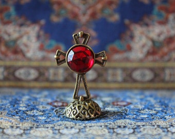 Dollhouse miniature medieval table cross
