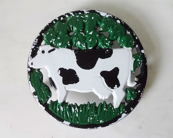 French Rustic COW #2 - Vintage Cast Iron Trivet, Round - Enamelled - Shabby Chic - Country Kitchen
