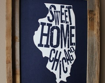Sweet Home Chicago Map Print (Dark Blue) - Unframed