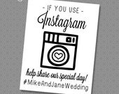 Wedding Instagram Sign - 8x10 & 4x6 Custom Hashtag Print - Instant Download