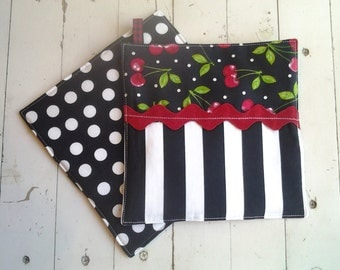Cherry Fabric Potholders Pretty Potholders With Cherries Black and White Stripes Polka Dots onReverse