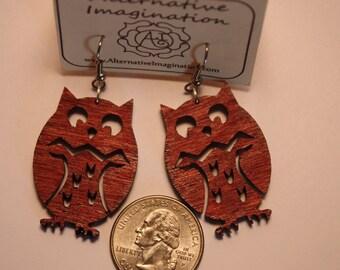 Wood Earrings - Laser Cut - Adorable Owl