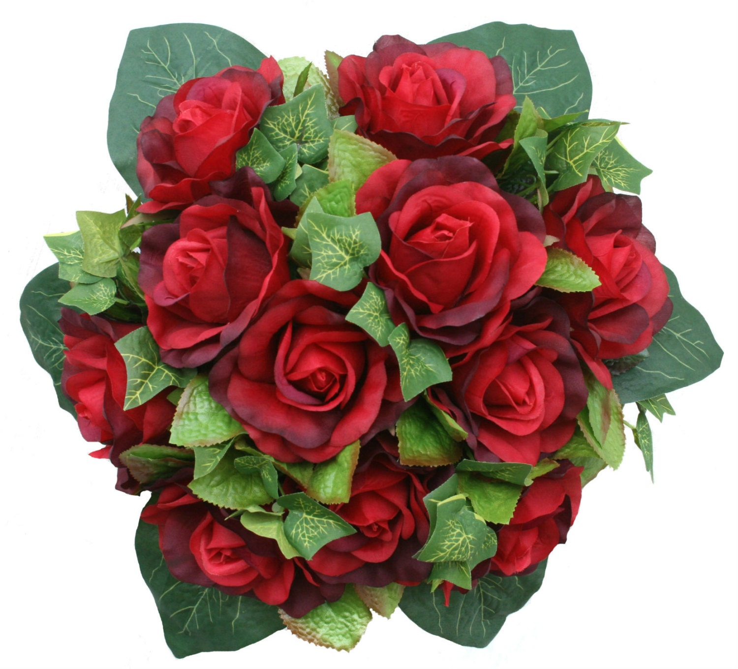 Red silk rose nosegay bridal wedding bouquet