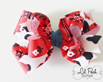 Girls Red Bandana and Cow Print Hairbow