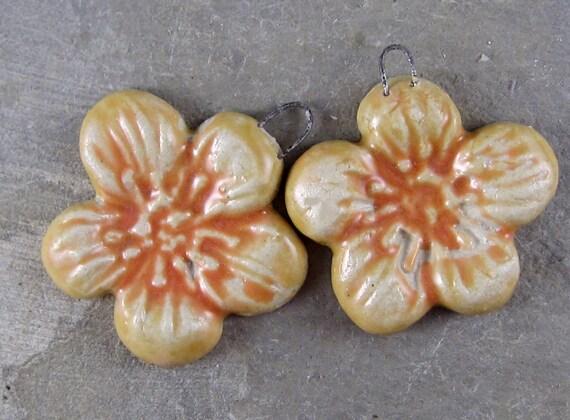 handmade ceramic flowers pendants