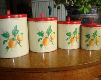 Vintage Decoware Peach Canisters Set of 4