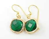 Emerald Green Drop Earrings, Crystal Emerald Drop, May Birthstone Faceted Stone Gold Dangle Earrings