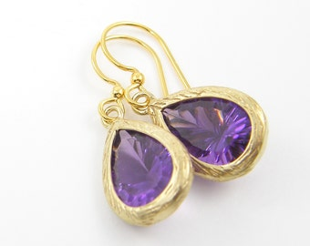 Purple Gold Earrings, Amethyst Drop, February Birthstone Faceted Stone Dangle Earrings |PJ1-8