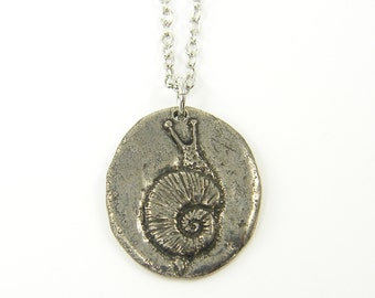 Silver Snail Necklace, Antique Pewter Snail Charm on Silver Plated Chain, Quote Pendant Necklace |GS1-6