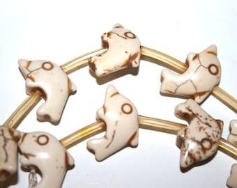 Full Strand of White Gemstone Dolphin Beads