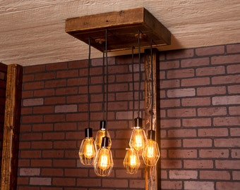 Industrial lighting, Industrial Chandelier, Nickel With Reclaimed Wood and 6 Pendants. R-1818-NC-6