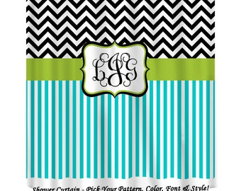 chevron and stripe monogrammed shower curtain black turquoise and lime shower curtain personalize
