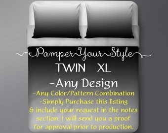 TWIN XL Bedding - College Bedding - Customized College Bedding - Personalized Dorm Bedding - Create Your Own College Bedding