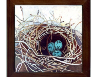 Nest tile trivet by Kathy Johnson bird's nest with 3 blue robin's eggs