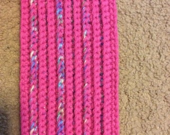 Handmade Crochet Pink and Multicolored Long Scarf