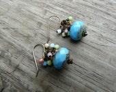 Sky Blue Beaded Dangle Earrings.  Gift for Her.  Boho chic.  Spring.