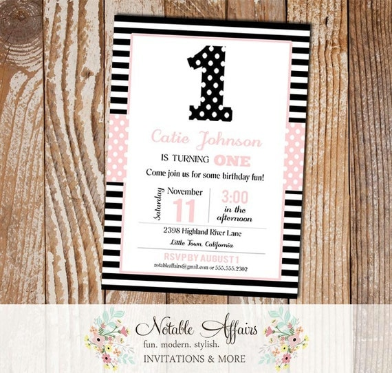 One 1st birthday party polka dots stripes invitation for Dots and stripes party theme