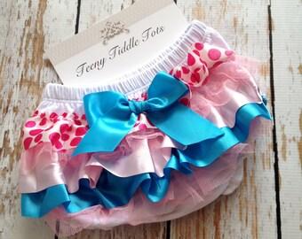 White Satin Ruffle Diaper Cover-Ruffled Diaper Cover - Ruffled Diaper Cover - Pink and Blue Ruffle Diaper Cover