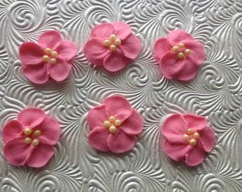 Hot Pink Royal Icing Flowers (15)