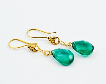 Emerald Green Quartz Drop Dangle Earrings, Teal Green Gold Drop Earrings, Green Dangle Earrings