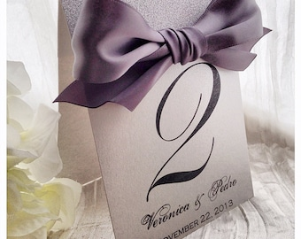 Wedding Table numbers, silver table numbers, silver table number with bow