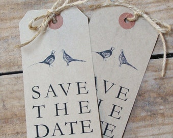 Pheasant Illustration Save the Date Luggage Tags