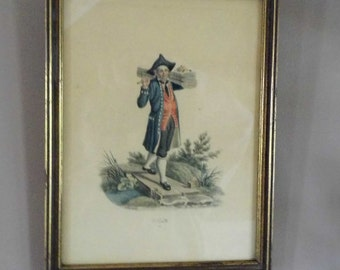 Framed Antique Chromolithograph by F.W. Moritz, Signed Antique Decorative Print by Swiss Painter Moritz