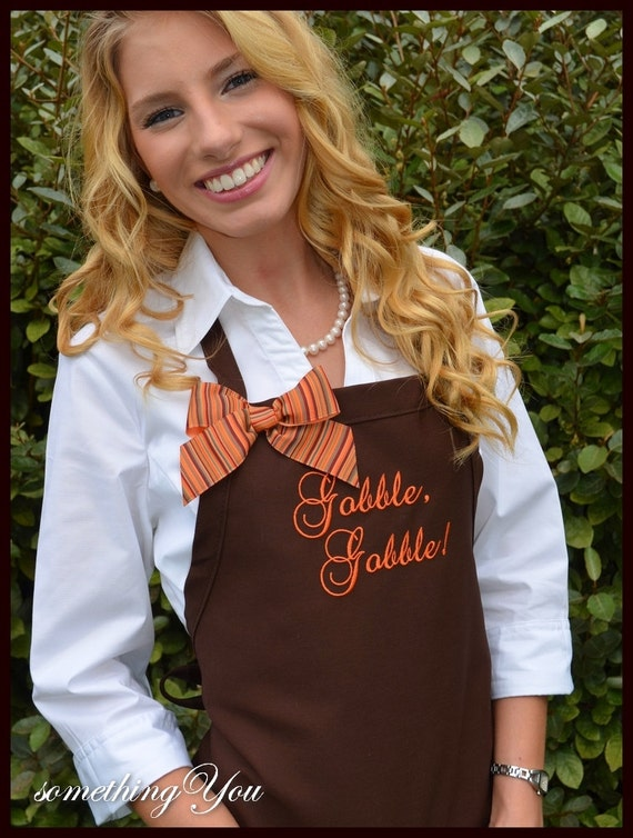 "Thanksgiving ""Gobble, Gobble"" Apron - Brown and Pumpkin Thanksgiving Apron, Custom Turkey Sayings Apron, Thanksgiving Dinner Aprons, Holiday"