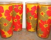Vintage Drinking Glasses, Retro Glassware, Flowers, Yellow, Orange, Green,  Set of Four,  Floral Glasses, Tall Glasses