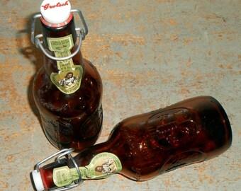 Vintage Beer Bottle, Grolsch Beer, Amber Glass, Brown Glass, Old Beer Bottles, Porcelain Lid, Metal Bails