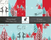 "WINTERLAND Digital Paper, Digital Scrapbook Paper, Christmas, Holiday, Reindeer  (12 ""x 12"" 300 dpi) INSTANT  DOWNLOAD 12 Digital Papers"