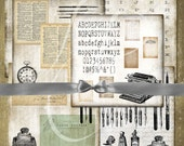 "Writer's Block Digital Paper- Digital Scrapbook Collage - Vintage Office Typewriter Pen (12 ""x 12"" 300 dpi) INSTANT  DOWNLOAD - 6 JPG Files"