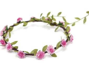 Pink Aster Flower Crown (up to 3yrs) - WEDDINGS, FLOWERGIRLS, BRIDESMAIDS