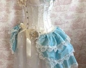 Azure Antoinette  Wedding Burlesque Bustle   Victorian  Gothic  Dance By Ophelias Folly