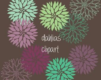 dahlia flower, dahlia clipart, flower clipart, digital scrapbook, digital dahlia, digital flower, dahlia clip art, mauve mint clipart