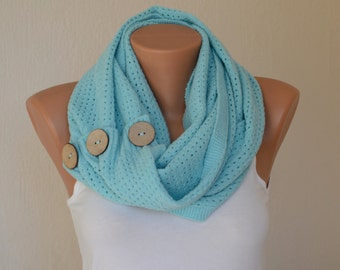 BS5203 Mint green knit lace button infinity scarf-Women accessory-Christmas gifts-Winter cowl-Neck warmer-Loop scarf