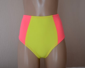 Neon pink and neon green fully lined full coverage high waisted bikini bottoms-Retro maillot-Swimwear-swimsuit-Bathing suit-XS-S-M-L-XL